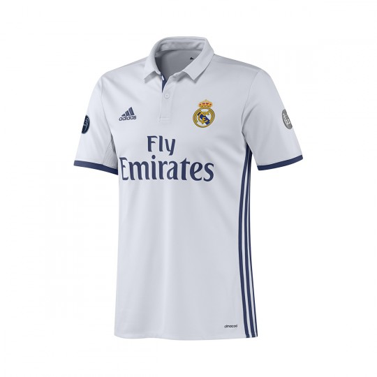 Camiseta  adidas Real Madrid Home UCL 2016-2017 Crystal white-Raw purple