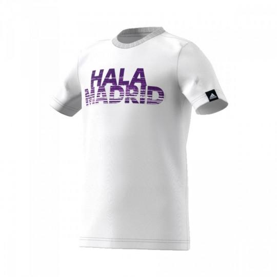 Camiseta  adidas Real Madrid Tee 2016-2017 Crystal white-Raw purple