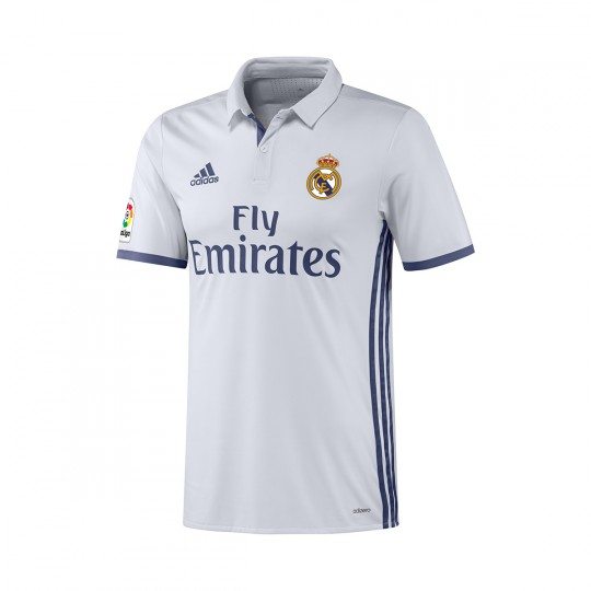 Camiseta  adidas Real Madrid Authentic Home 2016-2017 Crystal white-Raw purple