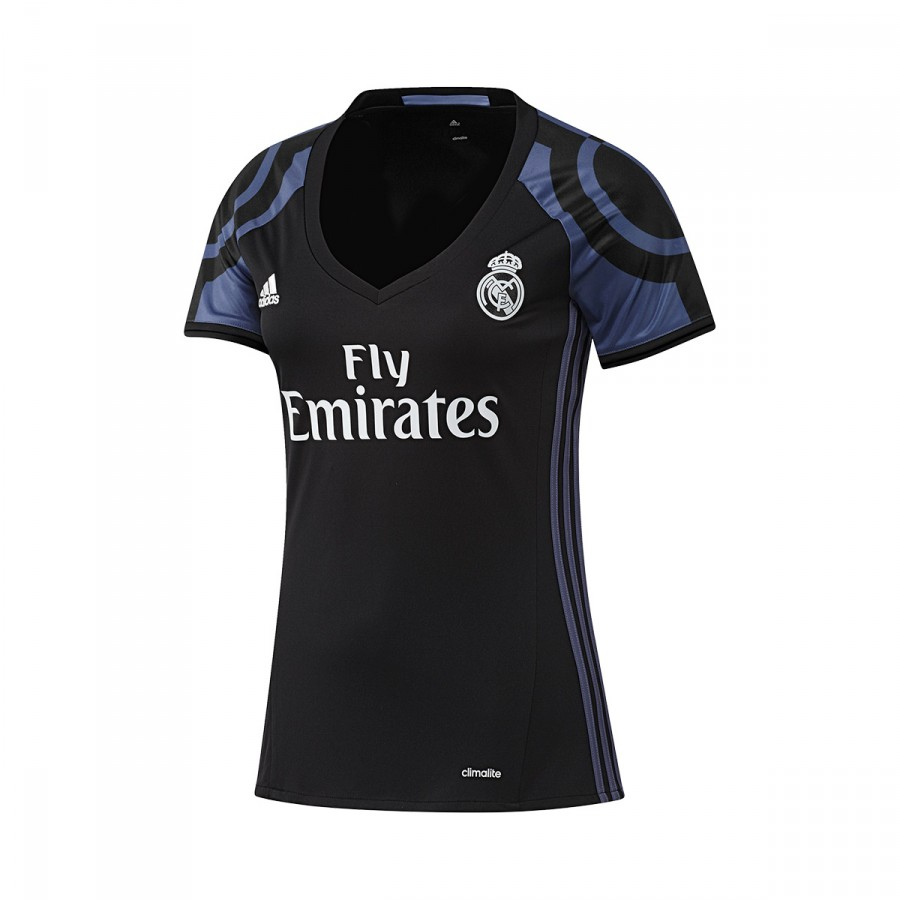 392ba13388b07 Jersey adidas Real Madrid Mujer Away 2016-2017 Black-Super purple ...
