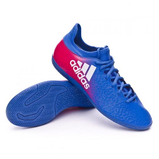 Zapatilla de fútbol sala  adidas X 16.3 IN Blue-White-Shock pink