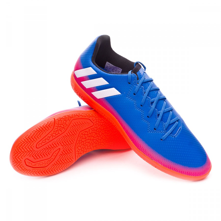 98e9e3281c721 Futsal Boot adidas Messi 16.3 IN Kids Blue-White-Solar orange ...