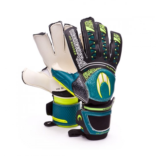 Guanti  HO Soccer Ikarus Roll-Flat Black-Volt-Turquoise