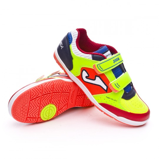 Zapatilla de fútbol sala  Joma jr Top Flex Volt-Green-Red-Orange