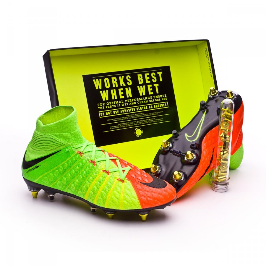 f6bd5a258cb8 Nike Hypervenom Phantom III ACC DF SG-Pro Anti-Clog Football Boots. Electric  green-Black-Hyper orange-Volt ...