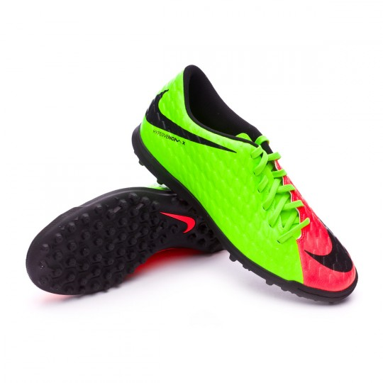 Zapatilla de fútbol sala  Nike HypervenomX Phade III Turf Electric green-Black-Hyper orange-Volt