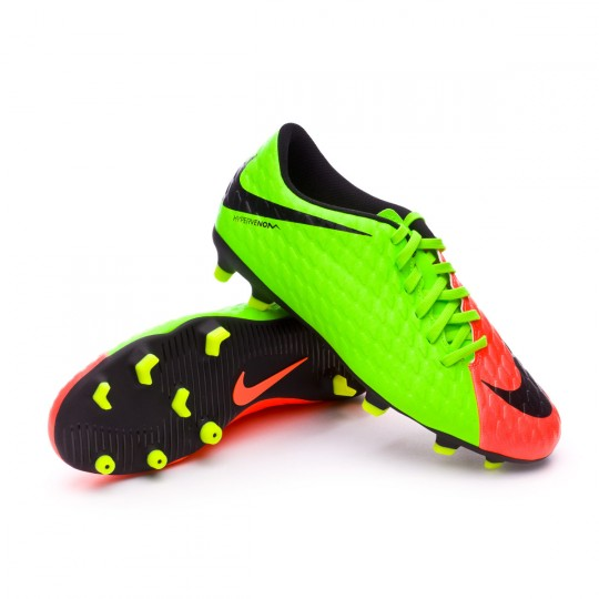 Chuteira  Nike Hypervenom Phade III FG Electric green-Black-Hyper orange-Volt