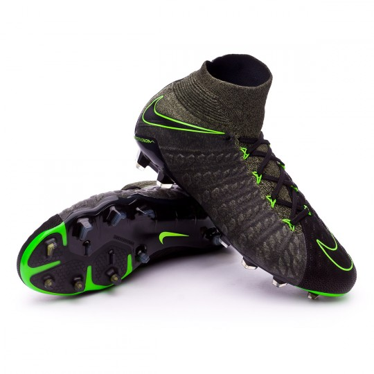 Chuteira  Nike Hypervenom Phantom III DF ACC TC FG Black-Electric green-Sequoia-Palm green