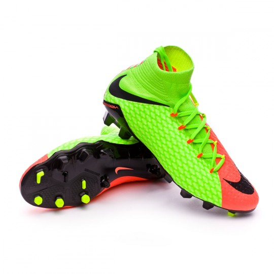 Chuteira  Nike Hypervenom Phatal III DF FG Electric green-Black-Hyper orange-Volt