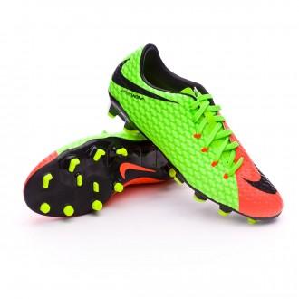 Chuteira  Nike Hypervenom Phelon III FG Electric green-Black-Hyper orange-Volt