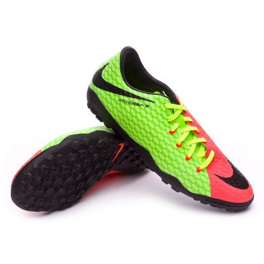Sapatilha de Futsal  Nike HypervenomX Phelon III Turf Electric green-Black-Hyper orange-Volt