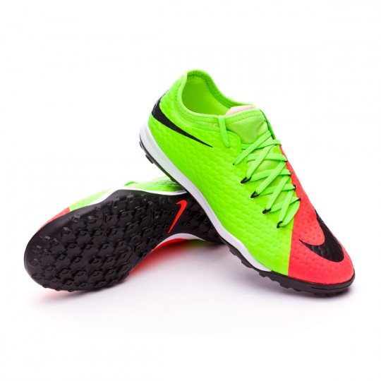 Zapatilla de fútbol sala  Nike HypervenomX Finale II Turf Electric green-Black-Hyper orange