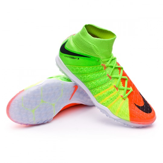 Zapatilla de fútbol sala  Nike HypervenomX Proximo II DF Turf Electric green-Black-Hyper orange-Volt