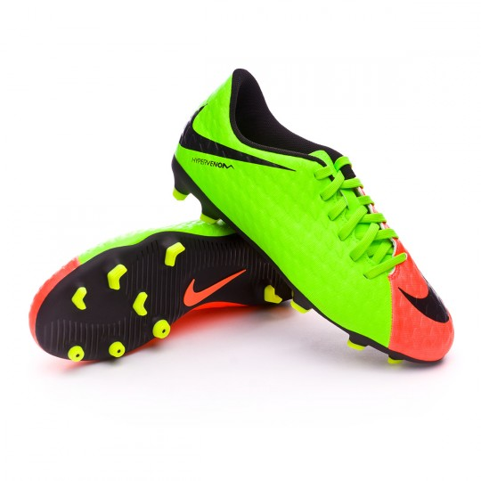 Chuteira  Nike jr Hypervenom Phade III FG Electric green-Black-Hyper orange-Volt