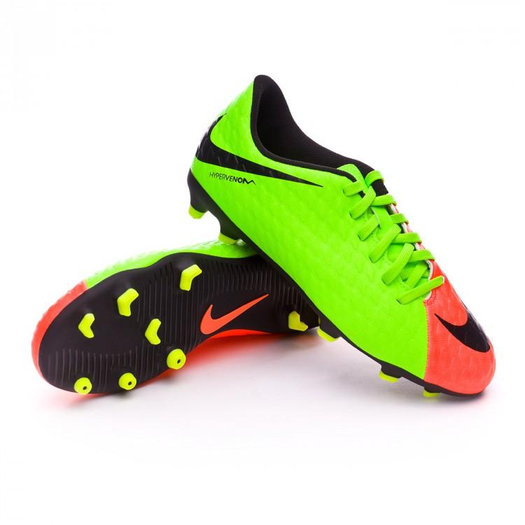 Boot Nike Jr Hypervenom Phade III FG Electric green-Black-Hyper ... ccea0501d9c22