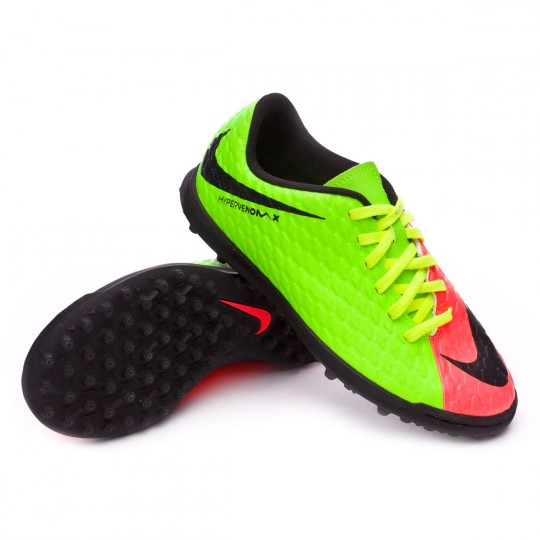 Sapatilha de Futsal  Nike jr HypervenomX Phade III Turf Electric green-Black-Hyper orange-Volt