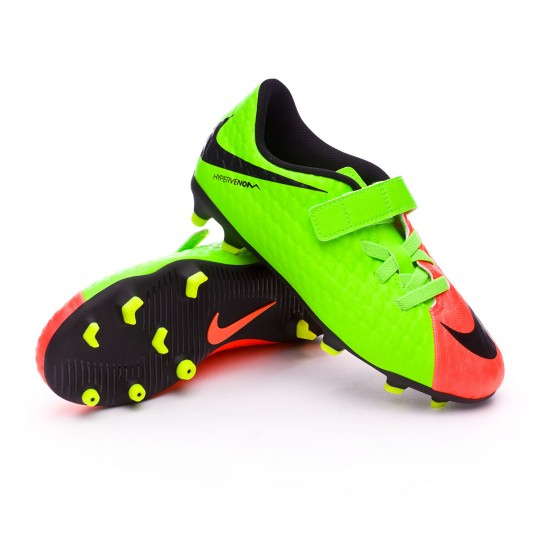 Chuteira  Nike jr Hypervenom Phade III Velcro FG Electric green-Black-Hyper orange-Volt