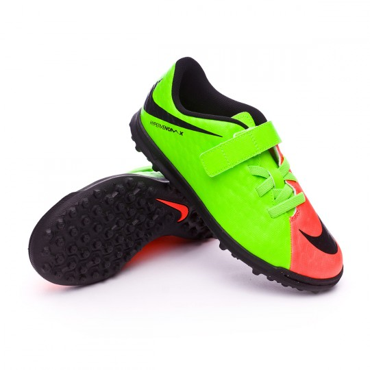 Sapatilha de Futsal  Nike jr HypervenomX Phade III VelcroTurf Electric green-Black-Hyper orange-Volt