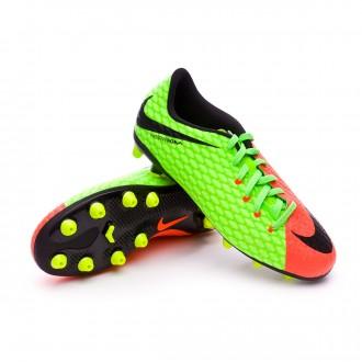 Chuteira  Nike Jr Hypervenom Phelon III AG Electric green-Black-Hyper orange-Volt