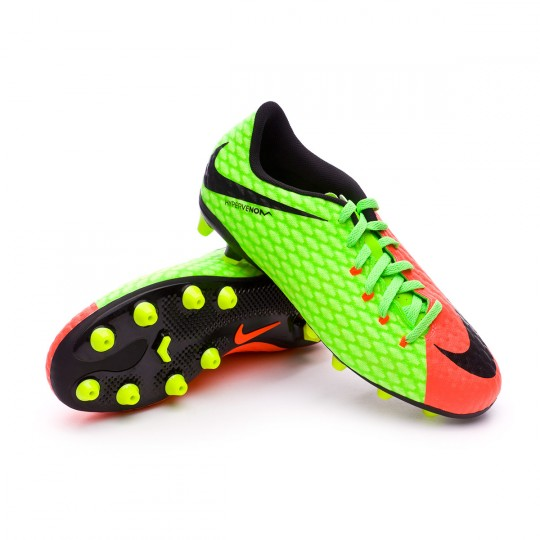Chuteira  Nike jr Hypervenom Phelon III AG Electric green-Black-Hyper orange-Volt