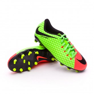 Bota  Nike Hypervenom Phelon III FG Niño Electric green-Black-Hyper orange-Volt
