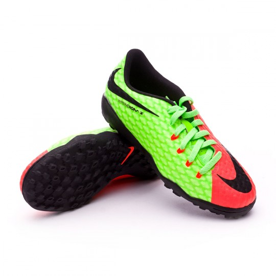 Zapatilla de fútbol sala  Nike jr HypervenomX Phelon III Turf Electric green-Black-Hyper orange-Volt