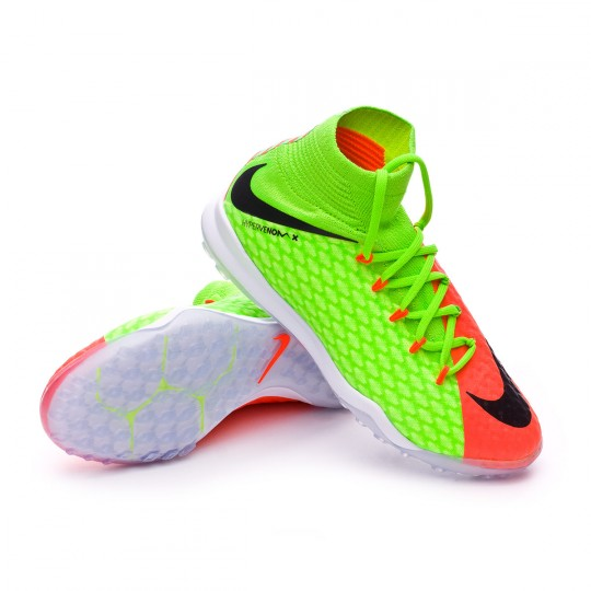 Zapatilla de fútbol sala  Nike jr HypervenomX Proximo II DF Turf Electric green-Black-Hyper orange-Volt