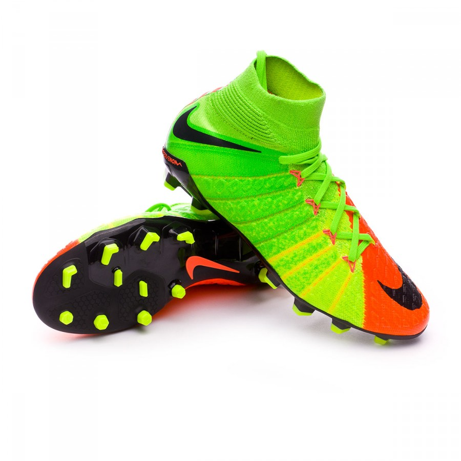 8735eb719dd Nike Jr Hypervenom Phantom III DF FG Football Boots. Electric green-Black-Hyper  orange-Volt ...