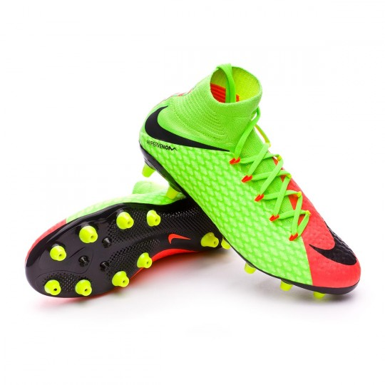 Chuteira  Nike Hypervenom Phatal III DF AG-Pro Electric green-Black-Hyper orange-Volt