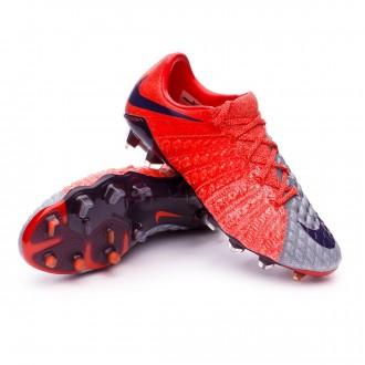 Bota  Nike Hypervenom Phantom III ACC FG Mujer Wolf grey-Purple dynasty-Max orange