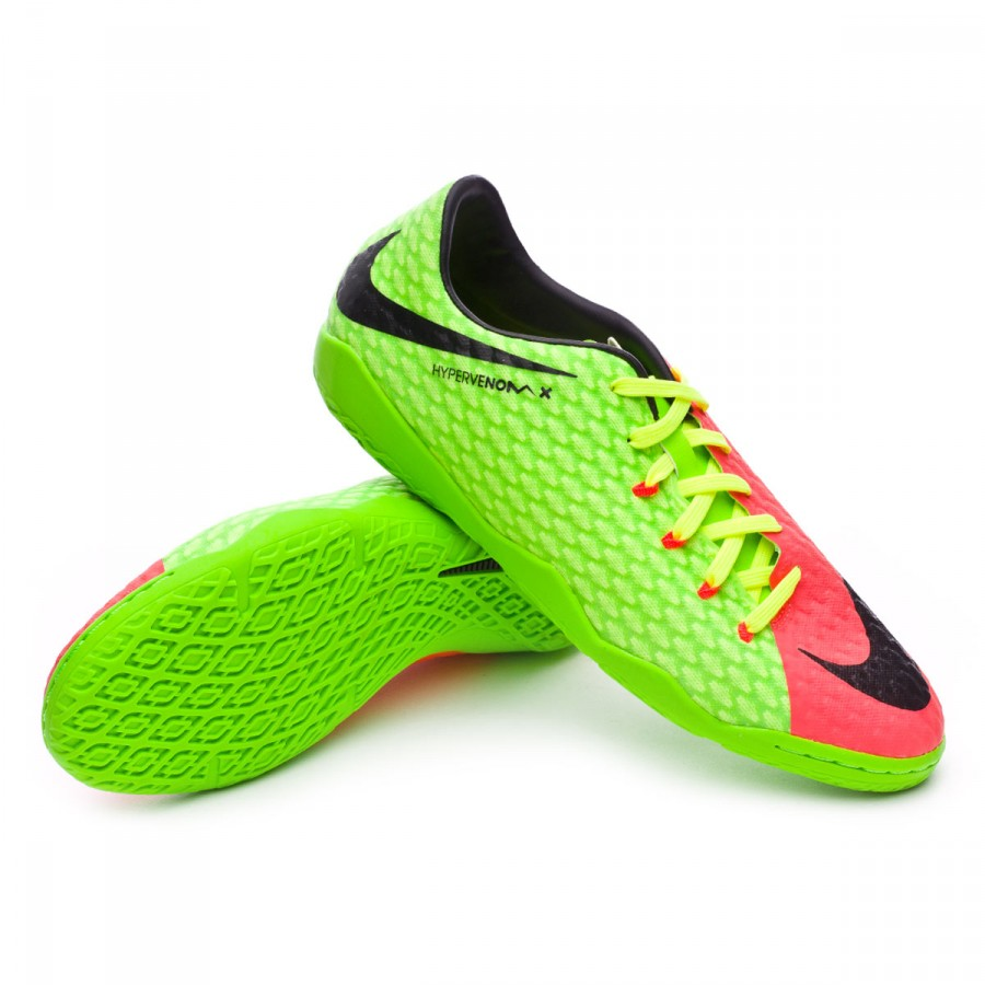 8c9cd6b069989 Futsal Boot Nike HypervenomX Phelon III IC Electric green-Black ...