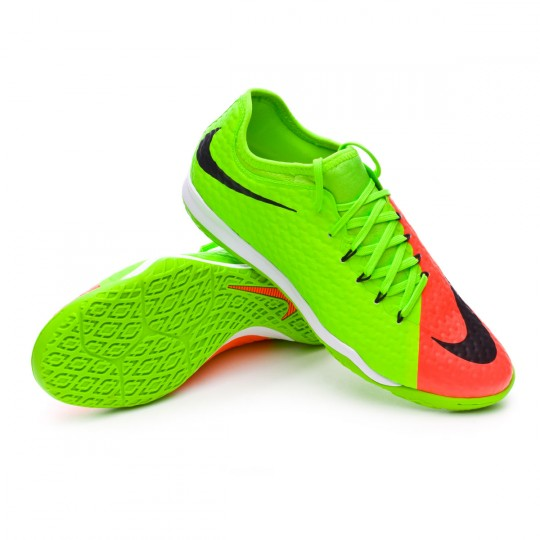 Sapatilha de Futsal  Nike HypervenomX Finale II IC Electric green-Black-Hyper orange-Volt