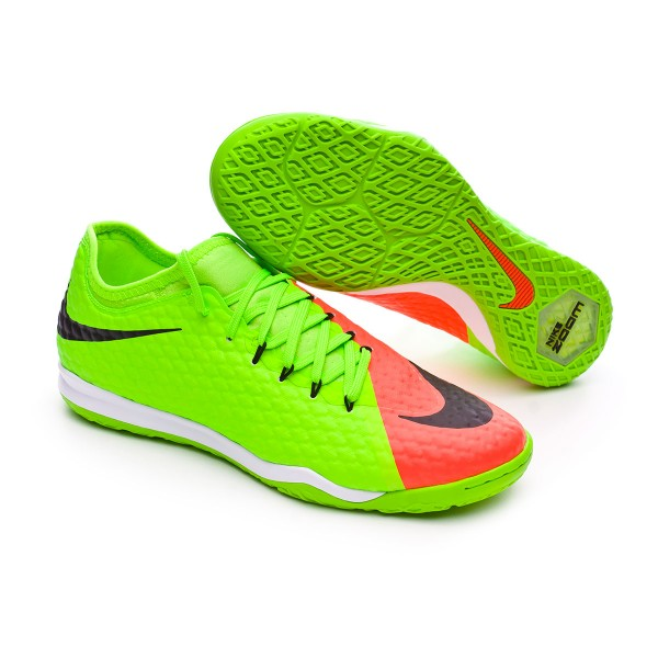 Sapatilha de Futsal Nike HypervenomX Finale II IC Electric green Black Hyper orange Volt