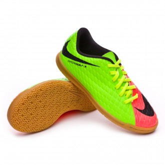 Sapatilha de Futsal  Nike Jr HypervenomX Phade III IC Electric green-Black-Hyper orange-Volt
