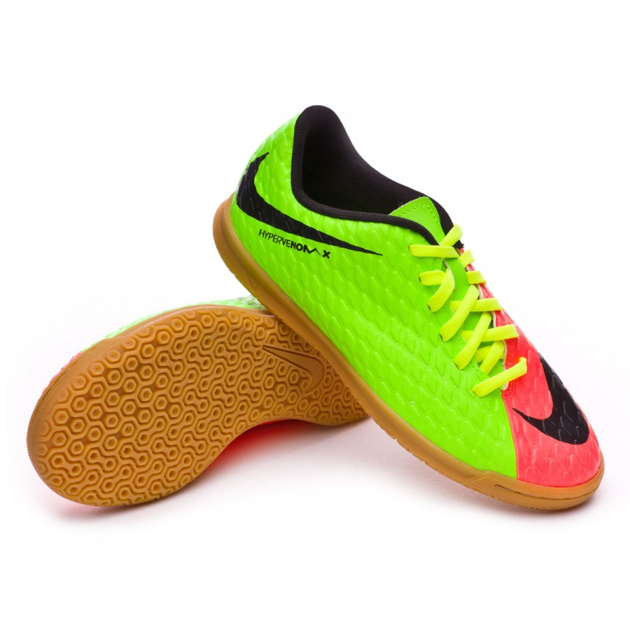 751e6233a50b Futsal Boot Nike Jr HypervenomX Phade III IC Electric green-Black ...