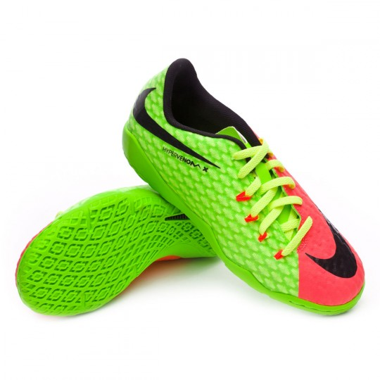 Sapatilha de Futsal  Nike jr HypervenomX Phelon III IC Electric green-Black-Hyper orange-Volt