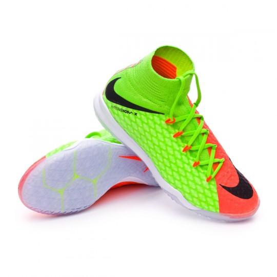 Chaussure de futsal  Nike jr HypervenomX Proximo II DF IC Electric green-Black-Hyper orange-Volt
