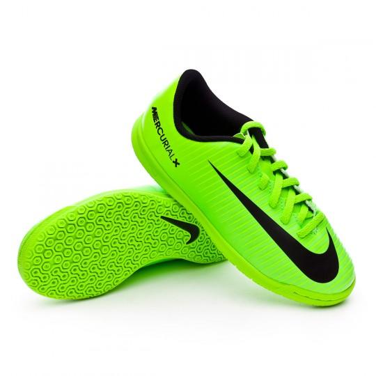 Chaussure de futsal  Nike jr MercurialX Vortex III IC Electric green-Black-Flash lime-White
