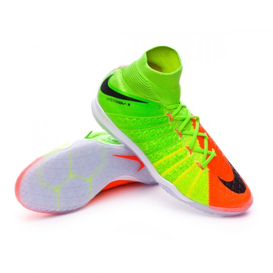 Sapatilha de Futsal  Nike HypervenomX Proximo II DF IC Electric green-Black-Hyper orange-Volt