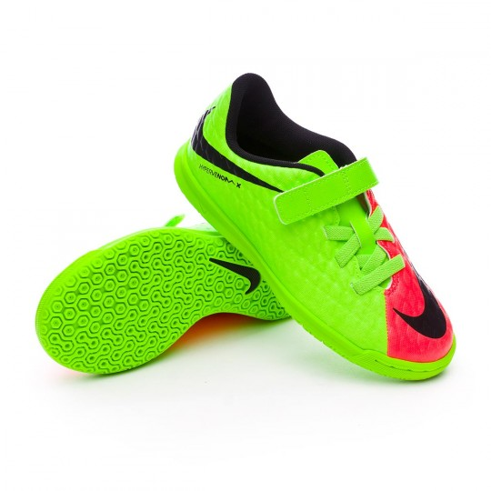 Sapatilha de Futsal  Nike jr HyperVenomX Phade III Velcro IC Electric green-Black-Hyper orange-Volt