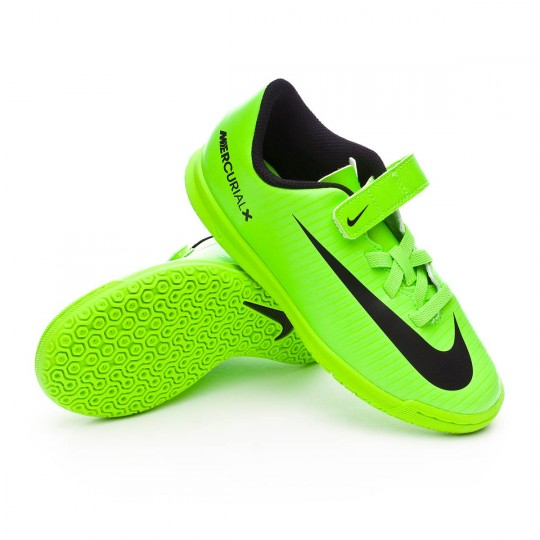 Chaussure de futsal  Nike jr MercurialX Vortex III Velcro IC Electric green-Black-Flash lime-White