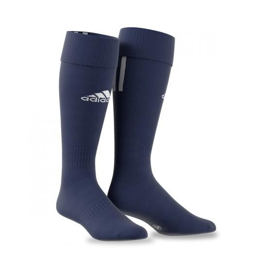 Medias  adidas Santos 3 Stripe Azul marino-Blanco