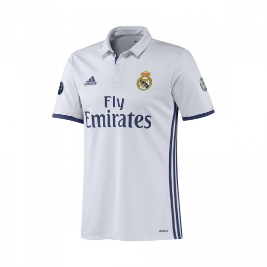 Camiseta  adidas jr Real Madrid Home UCL 2016-2017 Crystal White-Raw purple