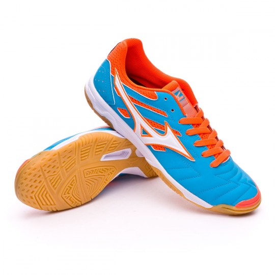 Chaussure de futsal  Mizuno Classic 2 IN Atomic blue-Orange crown fish