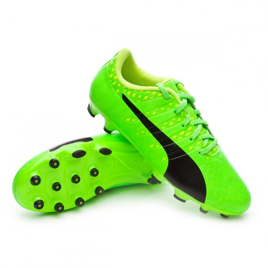 Chaussure  Puma jr evoPOWER Vigor 3 AG Green gecko-Black-Safety yellow