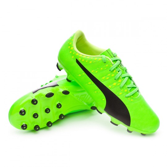 Chaussure  Puma jr evoPOWER Vigor 4 AG Green gecko-Black-Safety yellow