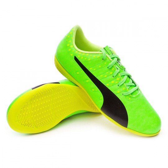 Chaussure de futsal  Puma jr evoPOWER Vigor 4 IT Green gecko-Black-Safety yellow