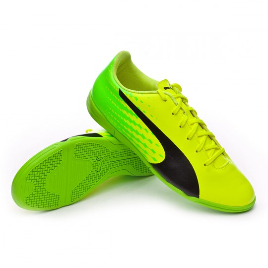 Chaussure de futsal  Puma evoSPEED 17.5 IT Safety yellow-Black-Green gecko