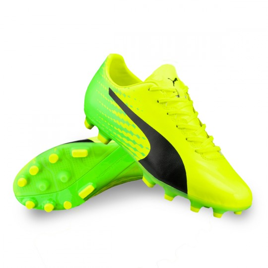 Chuteira  Puma jr evoSPEED 17.4 AG Safety yellow-Black-Green gecko