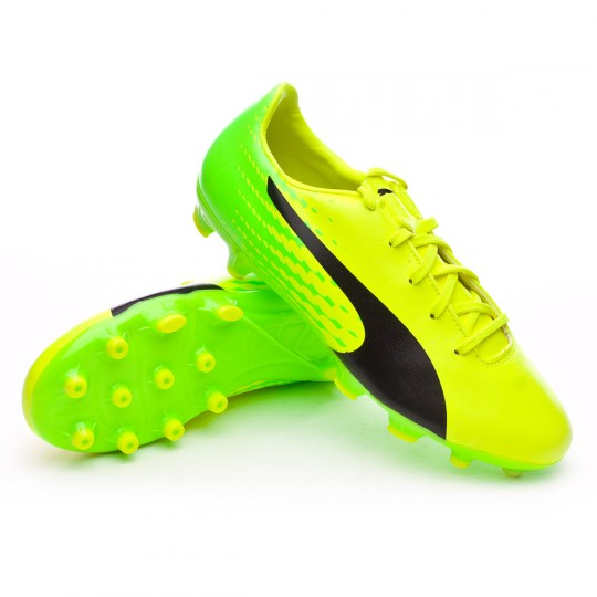 Chuteira  Puma jr evoSPEED 17.5 AG Safety yellow-Black-Green gecko